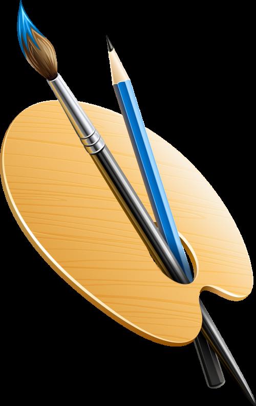 Набор палитра без красок, кисточка и карандаш