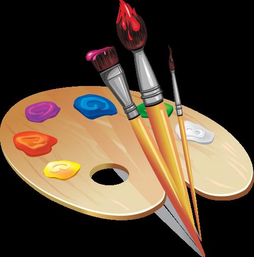 Набор палитры с кисточками и карандашом
