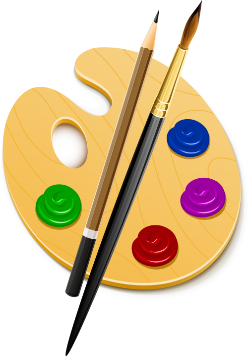 Палитра, кисть и карандаш