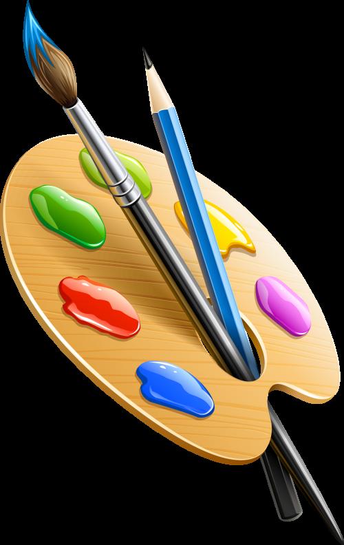 Палитра художественная с кисточкой и карандашом