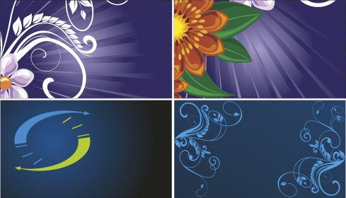 Синий фон, цветы, узоры